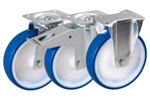 Sheet Steel Swivel and Fixed Castors with Polyurethan Wheels from Schwalb Castors