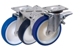 Sheet Steel Swivel and Fixed Castors with Polyurethane Wheels from Schwalb Castors